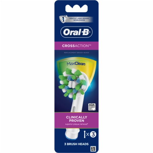 Oral-B CrossAction Electric Toothbrush Replacement Brush Head Refills Perspective: front