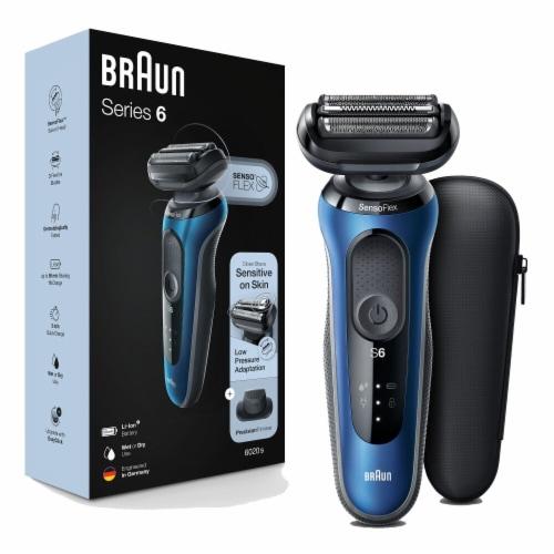 Braun Series 6 Sensi Flex Blue Men's Shaver Kit Perspective: front
