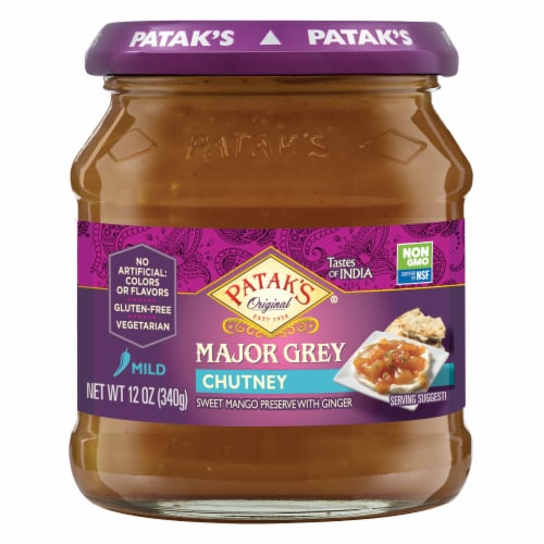 Patak's Major Grey Mild Chutney Perspective: front