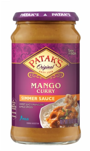 Patak's Mango Curry Indian Simmer Sauce - Mild Perspective: front