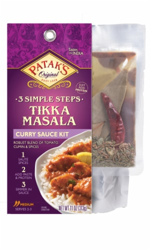 Patak's 3 Simple Steps Tikka Masala Curry Sauce Kit Perspective: front