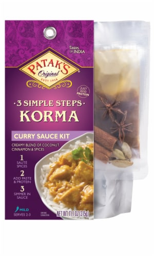 Patak's 3 Simple Steps Korma Curry Sauce Kit Perspective: front