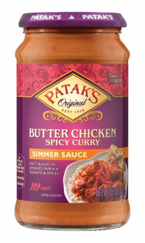 Patak's Butter Chicken Spicy Curry Hot Simmer Sauce Perspective: front