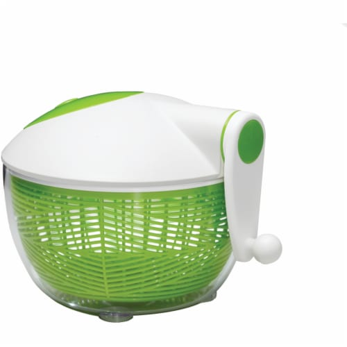 Starfrit 5 qt Salad Spinner, Green & White Perspective: front