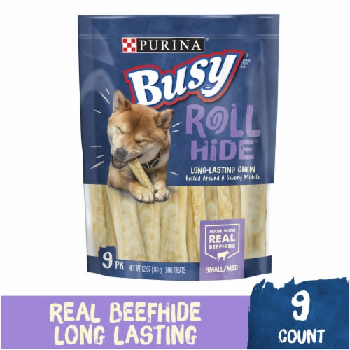 Busy Bone Roll Hide Beefhide Small/Medium Dog Treats Perspective: front