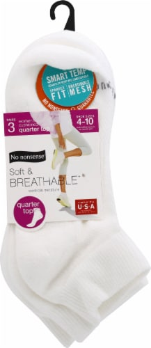 No Nonsense Women's Soft and Breathable Quarter-Top Socks - 3 pk - White Perspective: front