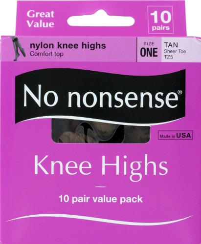 No Nonsense Knee High Stockings - 10 pk - Tan Perspective: front