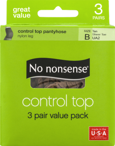 No Nonsense Control Top Pantyhose - 3 pk - Tan Perspective: front