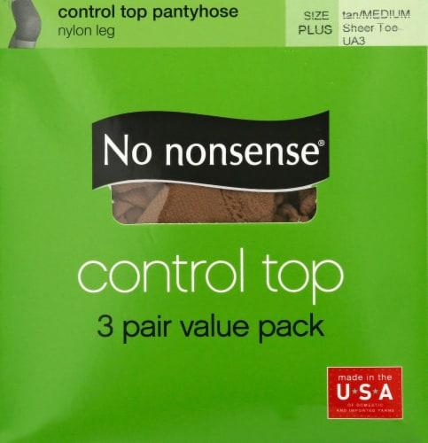 No Nonsense Control Top Pantyhose - 3 pk - Tan Perspective: front