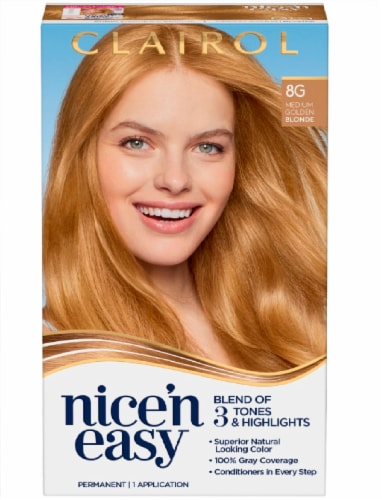 Clairol Nice'n Easy Permanent 8G Medium Golden Blonde Hair Color Perspective: front