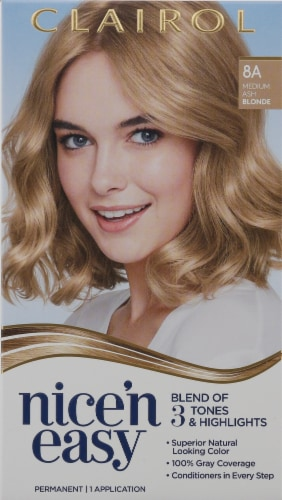Clairol Nice'n Easy 8A Medium Ash Blonde Hair Color Perspective: front