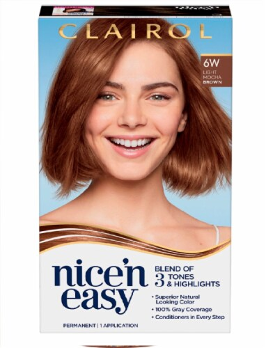 Clairol Natural Looking Nice'n Easy Permanent 6W Light Mocha Brown Color Perspective: front