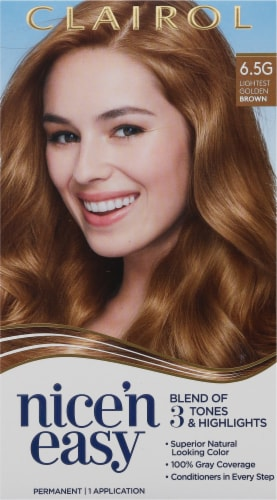 Clairol Natural Looking Nice'n Easy Permanent 6.5G Lightest Golden Brown Color Perspective: front