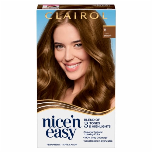 Clairol Nice'n Easy 6 Light Brown Hair Color Perspective: front
