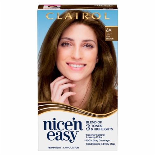 Clairol Natural Looking Nice'n Easy Permanent 6A Light Ash Brown Color Perspective: front