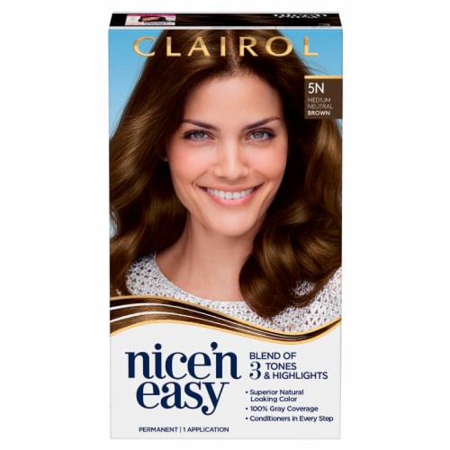 Clairol Natural Looking Nice'n Easy 5N Medium Neutral Brown Hair Color Perspective: front