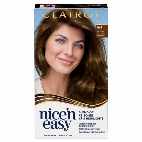 Clairol Natural Looking Nice'n Easy Permanent 5G Medium Golden Brown Color Perspective: front