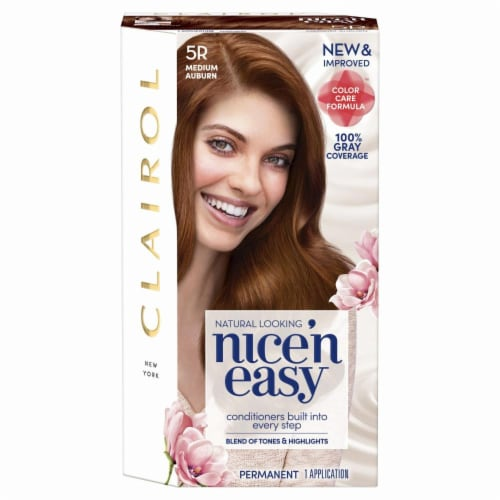 Clairol Natural Looking Nice'n Easy Permanent 5R Medium Auburn Color Perspective: front