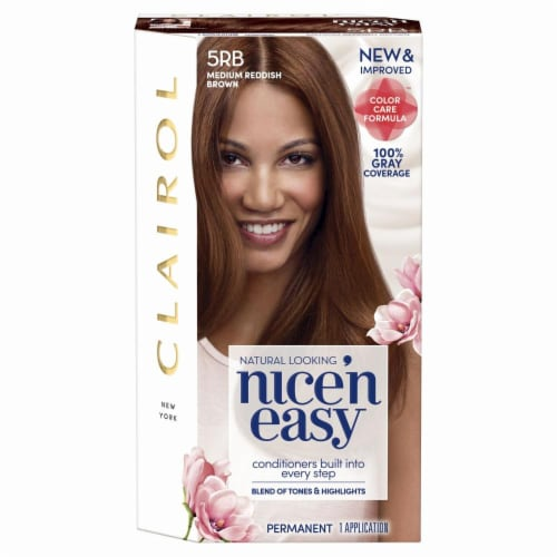 Clairol Natural Looking Nice'n Easy Permanent 5RB Medium Reddish Brown Color Perspective: front