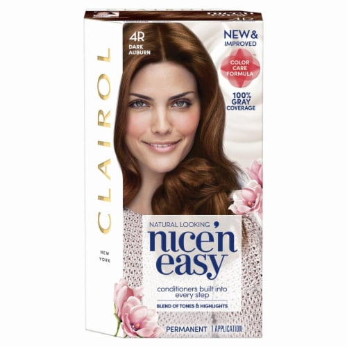 Clairol Natural Looking Nice'n Easy Permanent 4R Dark Auburn Color Perspective: front