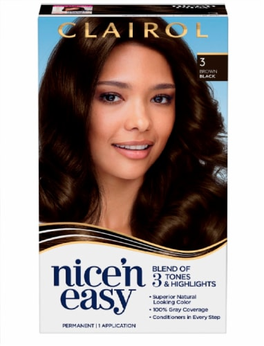 Clairol Natural Looking Nice'n Easy Permanent 3 Brown Black Color Perspective: front