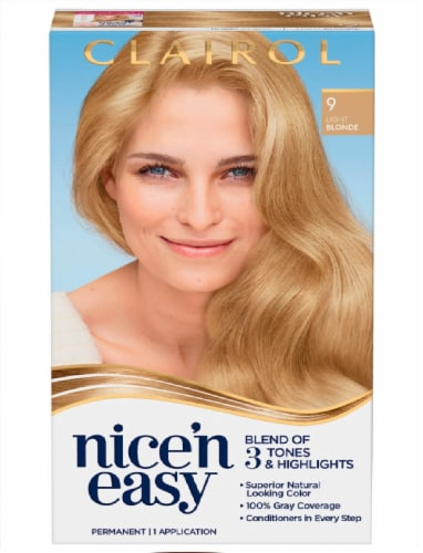 Clairol Natural Looking Nice'n Easy 9 Light Blonde Permanent Hair Color Perspective: front