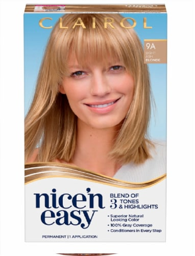 Clairol Natural Looking Nice'n Easy Permanent 9A Light Ash Blonde Color Perspective: front