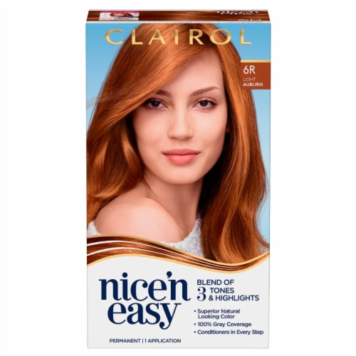 Clairol Natural Looking Nice'n Easy Permanent 6R Light Auburn Color Perspective: front
