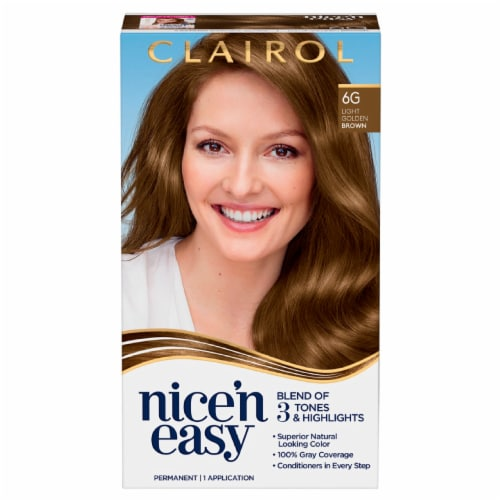 Clairol Natural Looking Nice'n Easy Permanent 6G Light Golden Brown Color Perspective: front