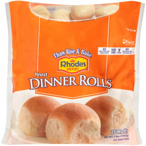 Rhodes Bake 'N Serve Yeast Dinner Rolls 36 Count Perspective: front