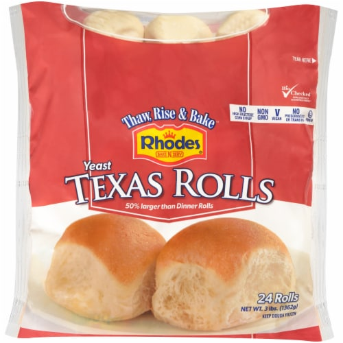 Rhodes White Texas Dinner Roll 24 Count Perspective: front
