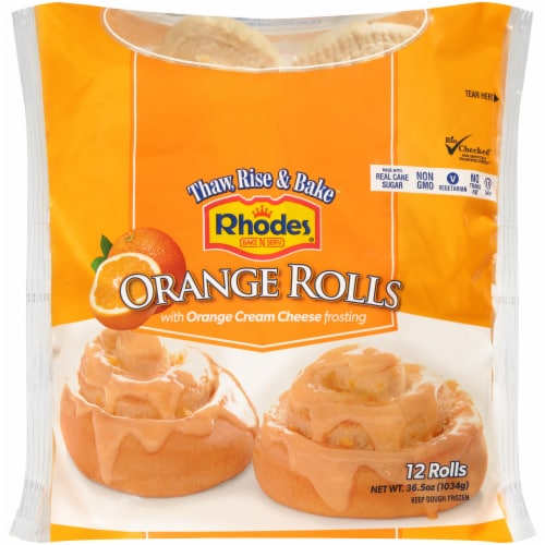 Rhodes Orange Rolls With Icing Perspective: front