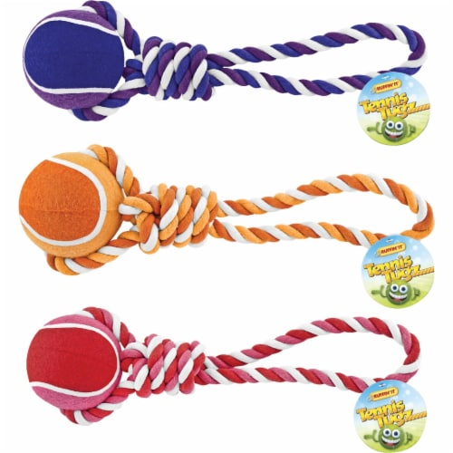 Westminster Pet Ruffin' it Giant Tennis Ball Rope Tug Dog Toy 80515 Perspective: front