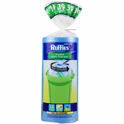 Ruffies Blue Tinted Jumbo Trash Bags 39 Gallon Perspective: front