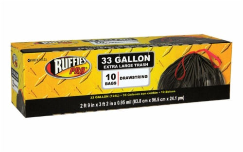 Ruffies Pro 33 gal. Trash Bags Drawstring 10 pk - Case Of: 12; Each Pack Qty: 10; Total Items Perspective: front