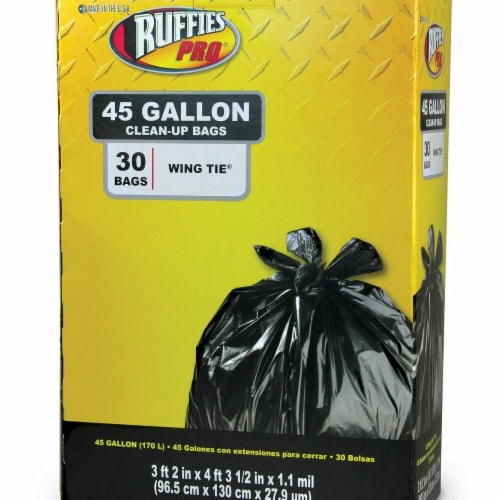Berry Plastics 1124922 45 gal Ruffies Trash Bag, 30 Count Perspective: front