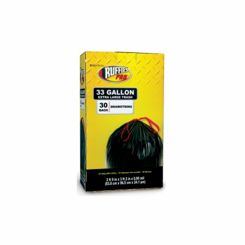 Berry Plastics 1124890 33 gal Drawstring Trash Bags Pro, 30 Count Perspective: front
