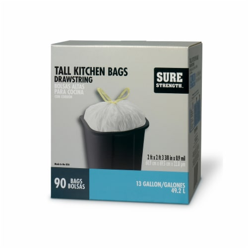 Sure Strength 13 gal. Tall Kitchen Bags Drawstring 90 pk - Case Of: 1; Each Pack Qty: 90; Perspective: front