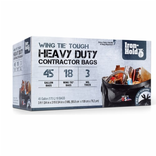 Iron-Hold 45 gal. Contractor Bags Wing Ties 18 pk - Case Of: 4; Each Pack Qty: 18; Total Perspective: front