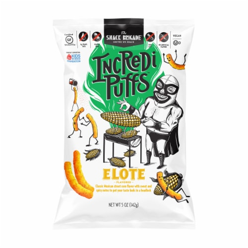 The Snack Brigade IncrediPuffs Elote Flavored Puffed Snacks Perspective: front