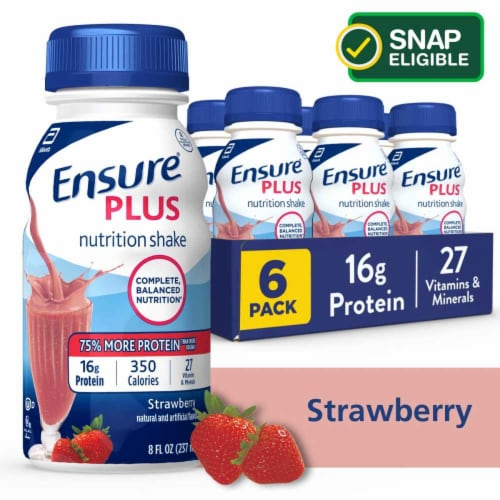 Ensure Plus Strawberry Ready-to-Drink Nutrition Shakes Perspective: front