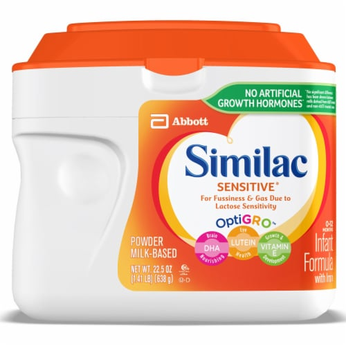 Similac Sensitive OptiGro For Fussiness and Gas Powder Infant Formula with Iron Perspective: front