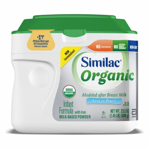 Similac Organic Powder Infant Formula with Iron Perspective: front