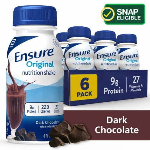 Ensure Original Dark Chocolate Ready-to-Drink Nutrition Shakes Perspective: front