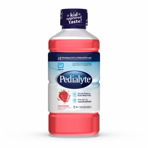Pedialyte Strawberry Ready-to-Drink Electrolyte Solution Perspective: front