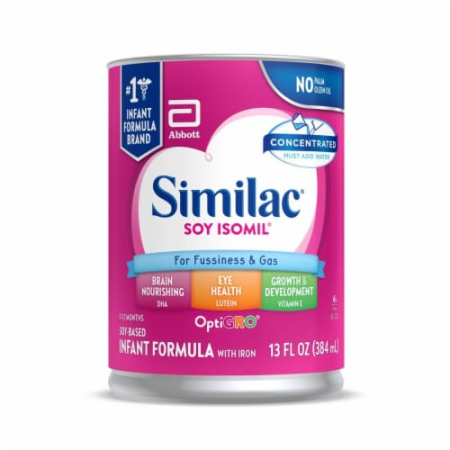 Similac Soy Isomil For Fussiness and Gas Concentrated Liquid Infant Formula Perspective: front