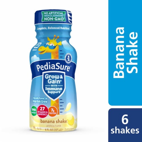 PediaSure Grow & Gain Banana Ready-to-Drink Kids' Nutritional Shakes Perspective: front