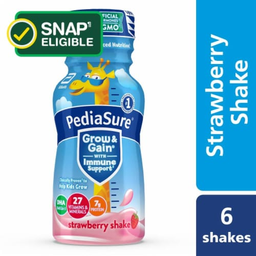 PediaSure Grow & Gain Strawberry Ready-to-Drink Kids' Nutritional Shakes Perspective: front