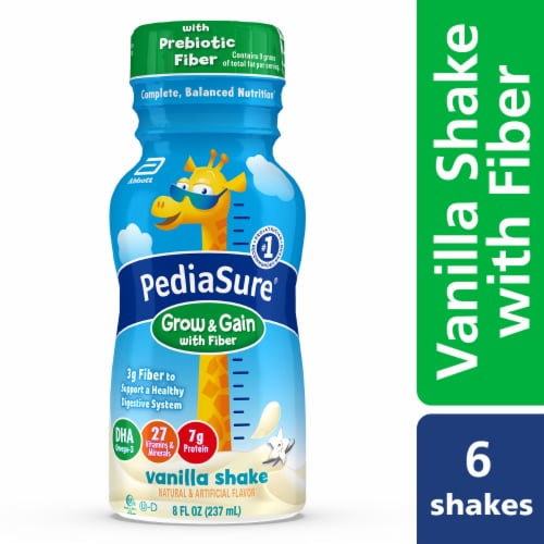 PediaSure Grow & Gain with Fiber Vanilla Ready-to-Drink Kids' Nutritional Shake Perspective: front