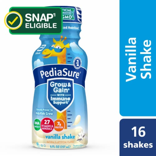PediaSure Grow & Gain Vanilla Nutrition Shakes Perspective: front